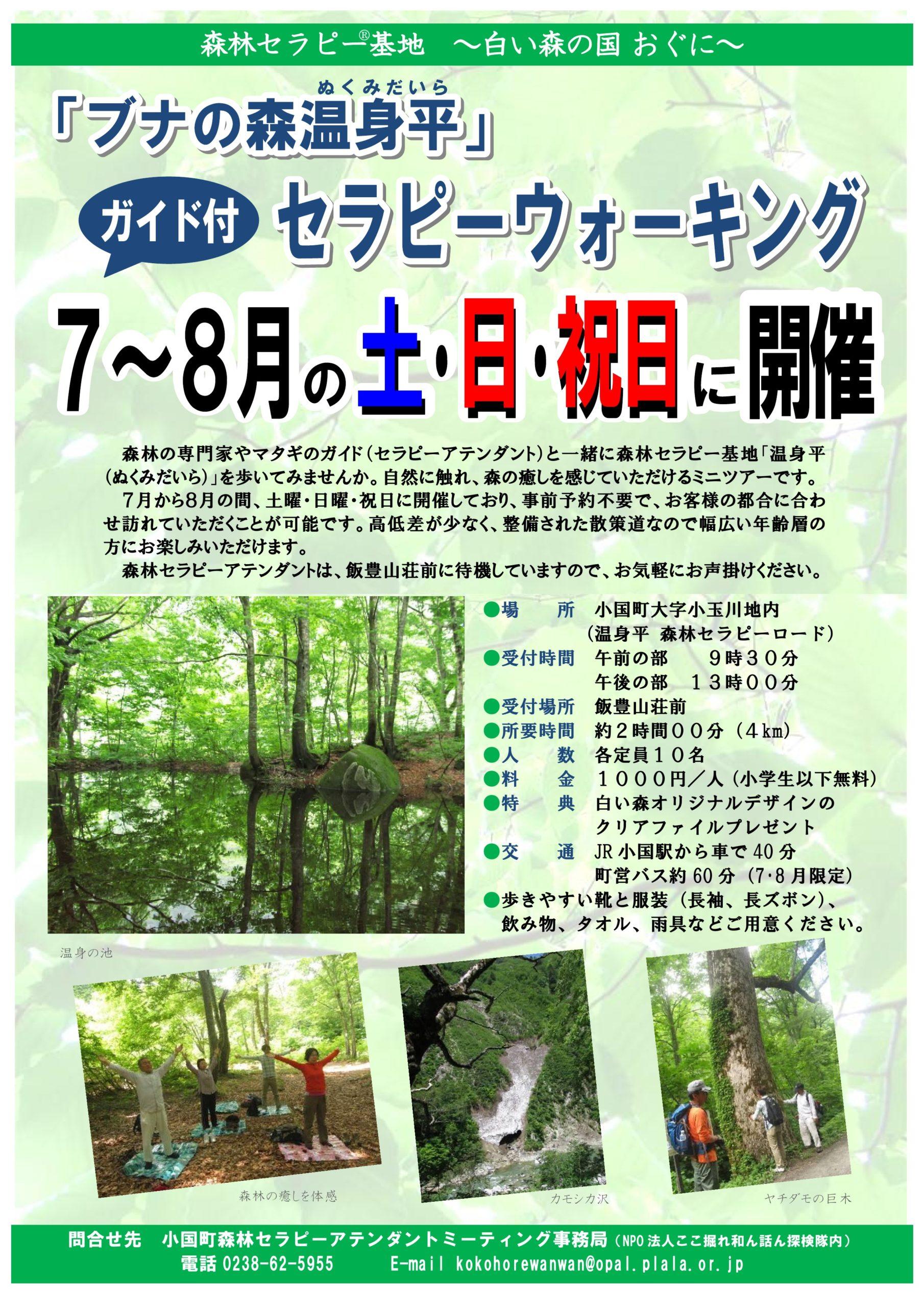 「ブナの森温身平」ガイド付セラピーウォーキング
