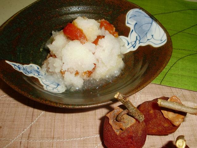 紅白の彩りあざやかな干し柿料理  柿なます